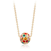 Italina Rigant 18K Gold Plated and SW Crystal Iced Out Multicolor Lucky Ball Pendant Necklace Free Shipping