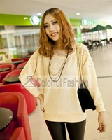 Fashion Acrylic Fabric Beaded Pullover Loose Crew Neck Long Bat Wing Sleeve Women Sweater