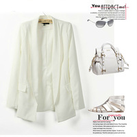 2013 Free Shipping Womens Tunic Foldable sleeve Blazer Jacket 4 colors no button cardigan coat