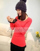 Round Collar Lace Jointed Cotton Women Sweater