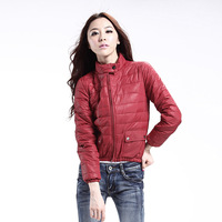 2012 motorcycle stand collar design thin short down coat female winter outerwear