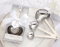 New 2013 Baby shower favors Stainless-Steel 4 Heart Measuring Spoons 100 SETS/LOT  Free shipping wedding favors and gifts