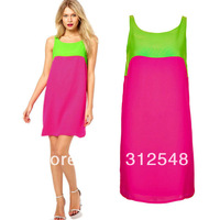 Trendy Women Sleeveless Chiffon Block Color Mini Vest Dress Sundress Lerisure CY0629 free shipping & drop shipping