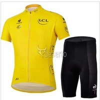 FreeShipping 2013Hot! Tour de France Cycling Sports Men Riding Breathable Reflective Jersey Cycle Clothing BIB Shorts