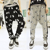 Leisure Womens Hip hop Haroun Pants Trouser Eyes Printing Capris Cropped Baggy CY0626 frees&drop shipping