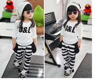 Fashion Children's Comfortable Clothing New Style Lovely Dog SuitsTwo-piece Suit  T-shirt + Leggings Free Shipping 10pcs/lot