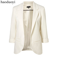 FREE SHIPPING Haoduoyi candy color three quarter sleeve blazer roll sleeve no button blazer formal slim