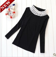 Free Shipping Maternity Basic Shirt Fashion Lace Collar Polo-necked Maternity Basic Shirt Long Johns Sweater