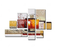 Hand-painted Frameless Abstract Oil Painting On Canvas  - Set of 7  #00257760 home decor