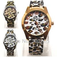 2014 One Pieces Designer Geneva Brand Leopard Golden Strap Clcok Lady Men Women Sport Casual Quartz Wrist Watch relogio feminino