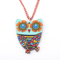 2pcs/lot wholesale new cute necklace pendants animal necklace owe pendant necklace for women acrylic chain necklace cartoon owl