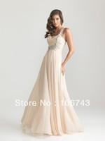 dresses free shipping 2013 NEW fashion vestido de festa party prom gown formal crystal beaded long chiffon Graduation Dresses