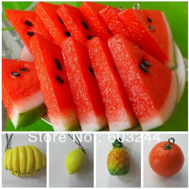 Free Ship 50pcs Countryside Fruit Charm Watermelon Banana Orange Lemon Pineapple Charm DIY Phone Strap Mobile Bag Pendant Gift(China (Mainland))