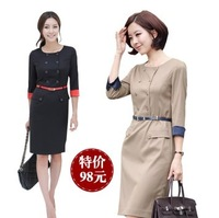 free shipping Work wear double breasted one-piece dress spring and autumn commercial  white collar half sleeve women's  dress