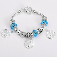 Free shipping!! New Fashion European Murano Glass&Crystal Beads 925Sterling Silver Rose Chram Bracelet PB186