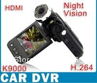"Hot Selling 1080P FHD Night Vision Car Camera DVR K9000 2.0""LCD 270Degree Rotation 5MP 120Degree  Black Box,Free Shipping"