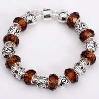 Free shipping!! New Fashion European Murano  925Sterling Silver Glass&Crystal Beads Chram Bracelet PB196
