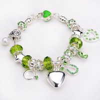 Free shipping!! New Fashion European Murano Glass&Crystal Beads 925Sterling Silver Smooth Heart Chram Bracelet PB194
