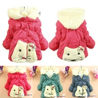 cartoon animal infant baby coat jackets children clothing girls thick winter 2014 cotton padded cat new clothes outwear hoody