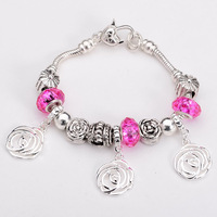 Free shipping!! New Fashion European Murano Glass&Crystal Beads 925Sterling Silver Rose Chram Bracelet PB189
