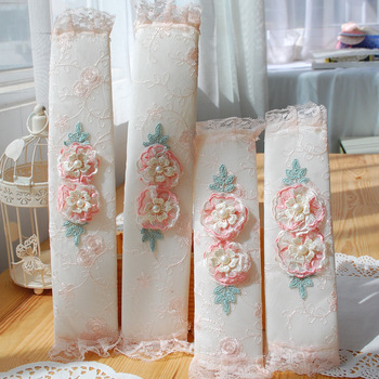 Pink flower chiffon lace embroidery refrigerator to gloves door handle sets handle set plus size thick