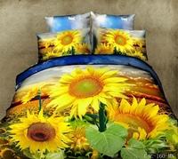 unique Yellow Sunflowers oil painting 3d queen size bedding sets cotton 4pcs comforter/duvet cover bedclothes bed sheet bedlinen