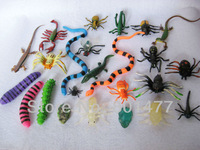Mixed 24pcs Animal Insect Larva Gecko Fly Frog Spider Snake Rubber Figures 2cm-13cm AIN1,Free Shipping