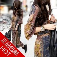 Fashion new National trend v V-neck long-sleeve chiffon jumpsuit   bohemia long design floral print  female spring  sexy dress