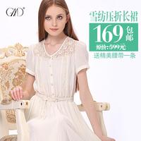 Fashion new Summer sweet lace  size skirt pleated chiffon      sexy dress