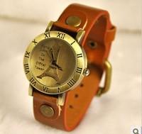 FG-343 Free Shopping Fashion Gift Dress Quartz wholesale antique fashion Deluxe Leather  Eiffel Tower Wrist Watches