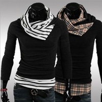 2013 Men's hot selling New winter large pile collar sweater men pullover 128022