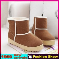 Colorful 2013 New Fashion Women Thick Platform Skid Proof Sole Snow Boots Sexy Warm Fur Ankle Shoes WB092 Free Shipping