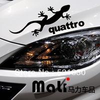 Personality reflector lamp post car stickers car eyebrow lizards QUATTRO gecko walks