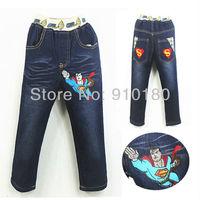 Hot Sale!!5pcs/lot Baby boys Cartoon Superman Autumn/Winter jeans Kids denim pants Children long trousers