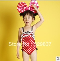 Free shipping 2013 the latest fashion girl One-piece swimsuit kids pink bikini beach wear children sanua clothes