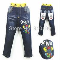 Free shipping 5pcs/lot Children cartoon mickey mouse trousers jeans baby denim pants kids pants