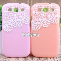 Cute Pearl Lace Deco Case For Samsung Galaxy S3 i9300 Free Shipping