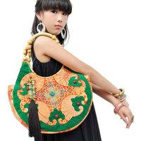 National trend big handmade beaded shoulder bag fashion female canvas bags embroidery bag