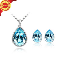 The Angel  Teardrop  Design Crystal Pendant Necklace Fashion Jewelry Sets for Women with Gifts Box Free Shipping