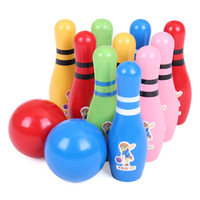 Cute Wooden Animal Style Bowling Toy 4 Desing Bowling Balls Game Baby Intellectual Toys Children Gift