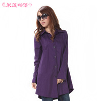 FREE SHIPPING 2013 spring plus size female shirt medium-long women's mm long-sleeve shirt