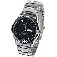 Free Shipping LaoGeShi Men's Watch Strips Hour Marks with Round Dial Steel Watchband 336-1