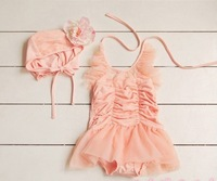Hot Sale 2013 Ruffles Design Girls Swimsuits Tiered Beachwear One Piece + Hat Kids Swimwear Pink Free Shipping
