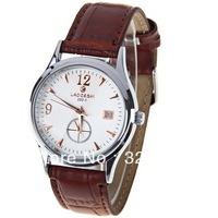 Free Shipping LaoGeShi Unisex Watch 2 Numbers and Triangles Hour Marks Round Dial Leather Band 222-1