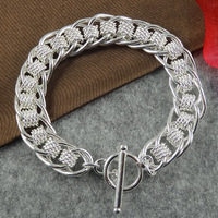 Fashion link bracelet in sterling silver 925 plated, free shipping (min-order $10) / CLB101