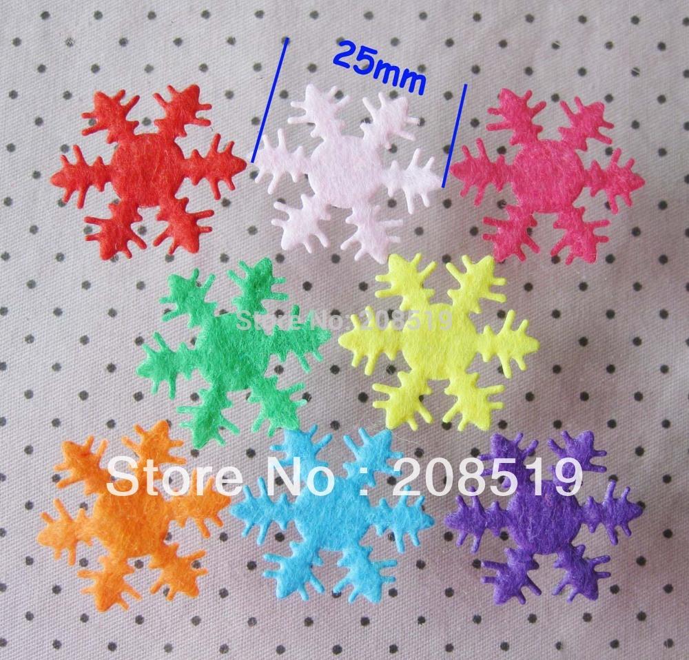 PA0012 Free shipping 25MM Patches snowflake Non-woven Appliques 200pcs Mixed randomly christmas/craft/Garment accessories(China (Mainland))