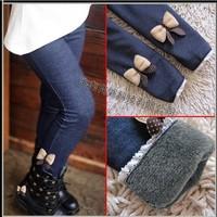 Free shipping 5pcs/lot 2013 kids girls jean bow pants, cotton cashmere pants, elastic waist legging warm pants winter wholesale