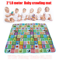 Hot sale Baby Crawling Mat 2*1.8 Meter Fruit/letters Pattern Baby Play Mat also for Family Picnic Carpet Free Shipping