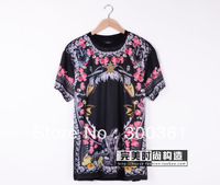 2014 Runway looks men's GIVE shirt t-shirt printed cotton shark floral design patchwork sweethearts shirt brand tag label