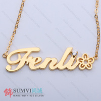 Name necklace customize letter necklace female short design 925 pure silver necklace diy engraving